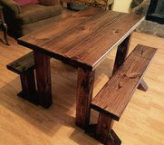 Custom made solid wood kids table and benches in Conroe, Texas