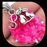 """Pink Ruby Druzy with Garnet and Sterling Silver Cats Overlay Pendant with 18"""", 22"""" or 24"""" Chain) in Alamogordo, New Mexico"""