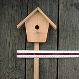 "VTG CRAFT WOOD BIRD HOUSE on STICK 22"" hi, unfin in Bolingbrook, Illinois"