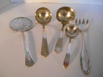 Assorted Set of 5 Serving Silver Plate Flatware, Different Makers in Phoenix, Arizona