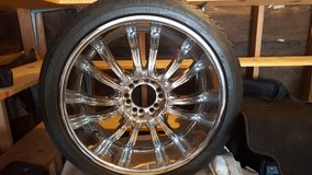 Truck All Wheel Drive Chrome 22 inch Rims with tires in Fort Polk, Louisiana