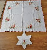 GERMAN CHRISTMAS EMBROIDERED CANDLES TABLE TOPPER & DOILEY in Lakenheath, UK