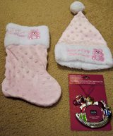 CHRISTMAS 3-PC BABY GIRL STOCKING, HAT, ORNAMENT SET in Lakenheath, UK
