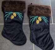 CHRISTMAS VELVET & FAKE FUR 2-STOCKING SETS x4 in Lakenheath, UK