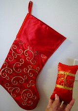 CHRISTMAS RED SATIN EMBROIDERED STOCKING & PILLOW in Lakenheath, UK