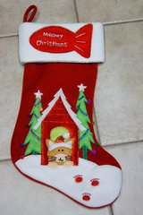 CHRISTMAS CAT STOCKINGS x2, LIKE NEW in Lakenheath, UK