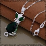 New - Green Crystal Cat Sterling Silver Necklace (Also have green cat earrings) in Alamogordo, New Mexico