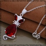 New - Red Crystal Cat Sterling Silver Necklace in Alamogordo, New Mexico
