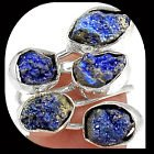 New - Natural Blue Azurite Rough Ring - Size 8 in Alamogordo, New Mexico