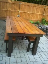 Wood picnic outdoor table bbq patio deck bench in Camp Lejeune, North Carolina