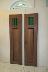 Old doors with green glass in Ramstein, Germany