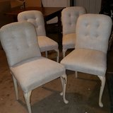 4 vintage French provincial padded linen chairs in Duncan, Oklahoma