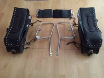 94 Honda VF 750c Magna Leather Side Bags with Chrome Mount in Ansbach, Germany