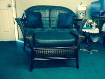 Pier 1 Imports Wicker Love Seat & Ottoman in Fort Lewis, Washington