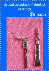 Dental assistant / dentist earrings in Columbus, Georgia
