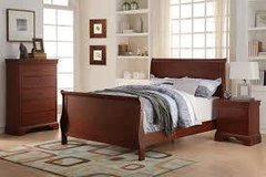Queen Sleigh Bed with Memory Foam Mattress in Fort Irwin, California