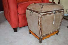 Bombay Style Trunk Light Ash Ratt with latch hook & gold tone handles in Aurora, Illinois