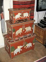 SET OF 3 PROGRESSIVE SIZE ELEPHANT MOTIF ARTWORK STORAGE BOXES in Yucca Valley, California