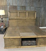 Wood platform bed storage cubby cubbie in Camp Lejeune, North Carolina