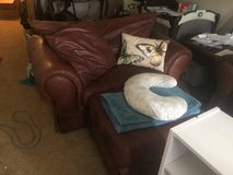 Leather couch and loveseat with ottoman in Fort Polk, Louisiana