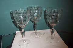 3 Etched Crystal Water Goblets in Baytown, Texas