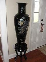 BEAUTIFUL MOTHER OF PEARL PEACOCK VASE & MATCHING STAND in Camp Lejeune, North Carolina