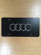 Audi Chrome 3D Logo on Black Stainless Steel License Plate in Westmont, Illinois