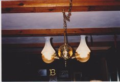 Antique Ceiling Light: Brass Double Arm Angle Lamp Co. Converted Hanging Chandelier in Westmont, Illinois