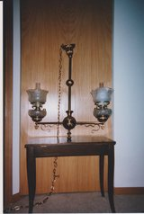 Antique Ceiling Light: Alpha Brass 2 Light Gas Style Eastlake Fixture in Westmont, Illinois
