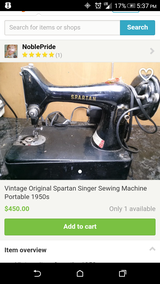 reduced Vintage Original Spartan Singer Sewing Machine Portable 1950s in Yucca Valley, California