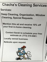 Chacha's cleaning service in Joliet, Illinois
