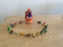 Dinosaur head case with mini dinosaurs in Fort Bliss, Texas