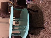 Round two tier side table teal tier stained legs in Houston, Texas