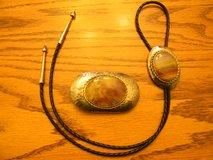 Petrified Wood Western Buckle and Bolo Tie in Naperville, Illinois