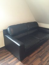 Black Leather sofa for sale in Ramstein, Germany