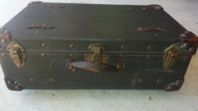"Antique Leather Covered Travel Trunk / Suitcase 24""X14""X9"" in Houston, Texas"