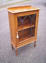 Quality 1920's Oak Pretty Lead Glazed Small Bookcase Cabinet in Lakenheath, UK