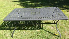 Black metal patio table in Beaufort, South Carolina