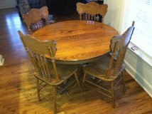 "Oak dining set (""claw"" table, 4 chairs, expansion leaf) in Dover AFB, Delaware"