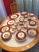 1920's fine china 22kt gold burgundy serenade set 66 peice in Beaufort, South Carolina
