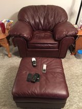 Leather overstuffed chair and ottoman in Fort Leonard Wood, Missouri