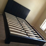 King Size Black Leather Bed in Spring, Texas