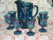 Blue Carnival Glass Pitcher and Goblets in Fort Leonard Wood, Missouri