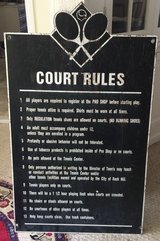 Large metal City Rec Tennis Court Rules Sign, Rock Hill in Beaufort, South Carolina