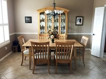 9 Piece Dining Room Set - Table, 6 Chairs, China Cabinet with Hutch Maple in Kingwood, Texas
