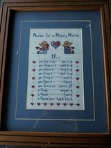"""""""Rules for a Happy Home"""" framed crosstitch in Camp Lejeune, North Carolina"""