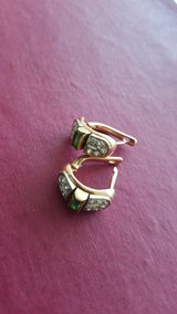 Gorgeous Natural Emerald Diamond Gold Platin Earrings Gold! Reduceed! in Grafenwoehr, GE
