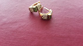 Gorgeous Natural Emerald Diamond Earrings Gold! in Hohenfels, Germany