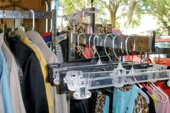 RETAIL CLOTHES RACK,BOX OF CLIP HANGERS,PRICEING MIC in Beaufort, South Carolina
