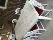 REDUCED !!! Solid Wood Farm Table with 6 Chairs in Wilmington, North Carolina